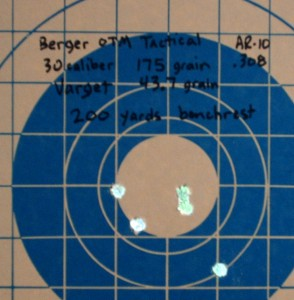 Berger 175gr at 200 yards propelled by 43.7 grains of Varget