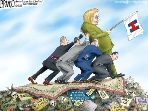 propping hillary up