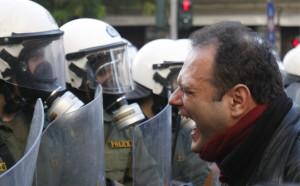 greek facing cops