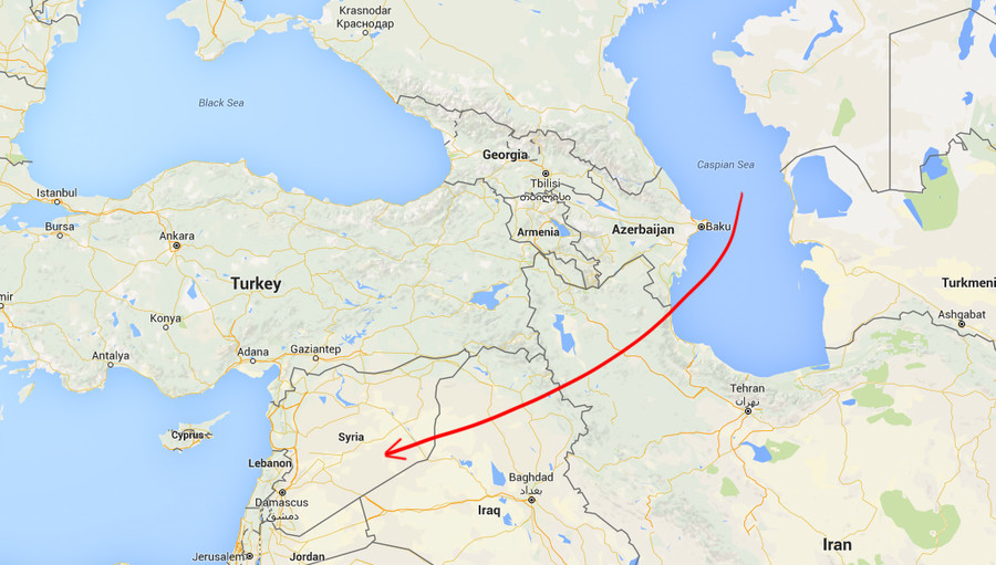 Russian cruise missle Caspian to Syria
